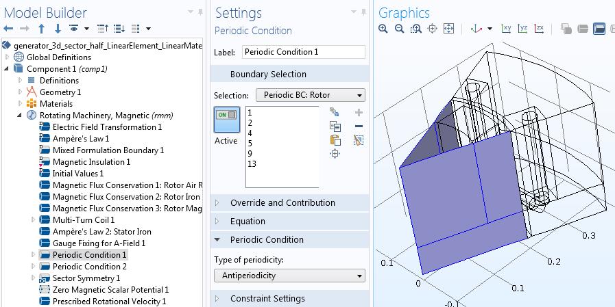 Rotor periodic condition settings Руководство по моделированию вращающихся электрических устройств в 3D