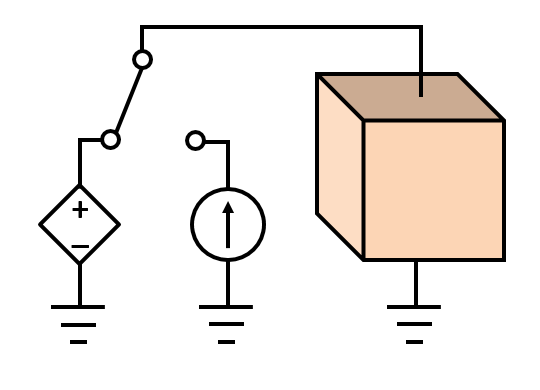 A schematic depicting a material with a ground and a Terminal condition.