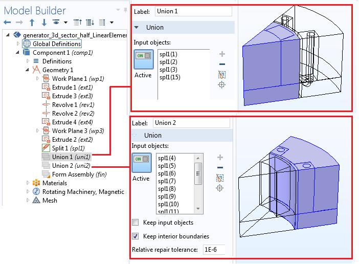 Unions in geometry sequence Руководство по моделированию вращающихся электрических устройств в 3D