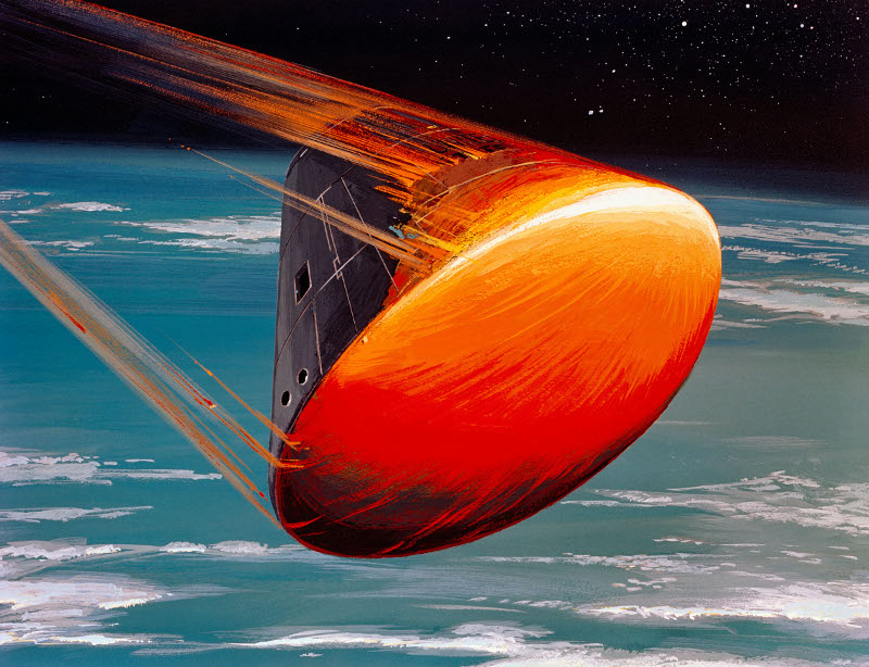 An illustration of a heat shield on a reentry spacecraft.
