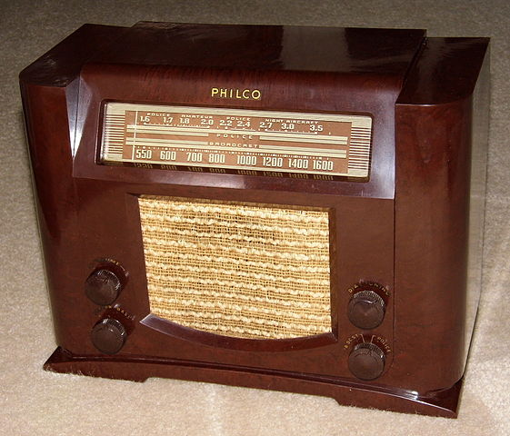 A photo of a Bakelite radio cabinet.