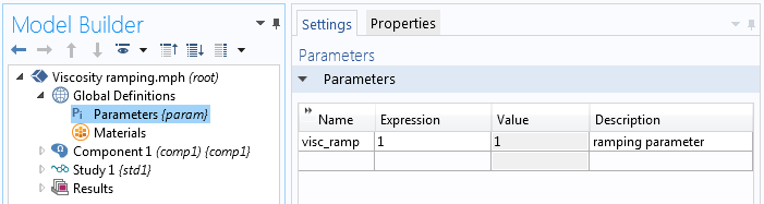 A screenshot showing how to define parameters for viscosity ramping in COMSOL Multiphysics.
