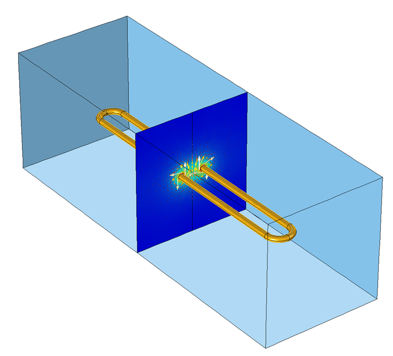 An elongated 3D coil model.