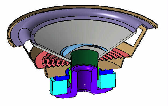 A portion of a CAD loudspeaker model.