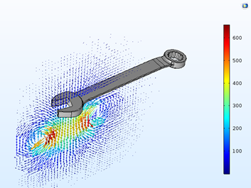 An image showing the simulation results for the magnetic flux at the maximum current in a bobbin.