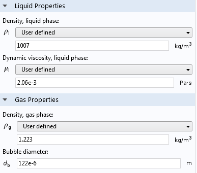 Material properties for the liquid phase and gas phase.