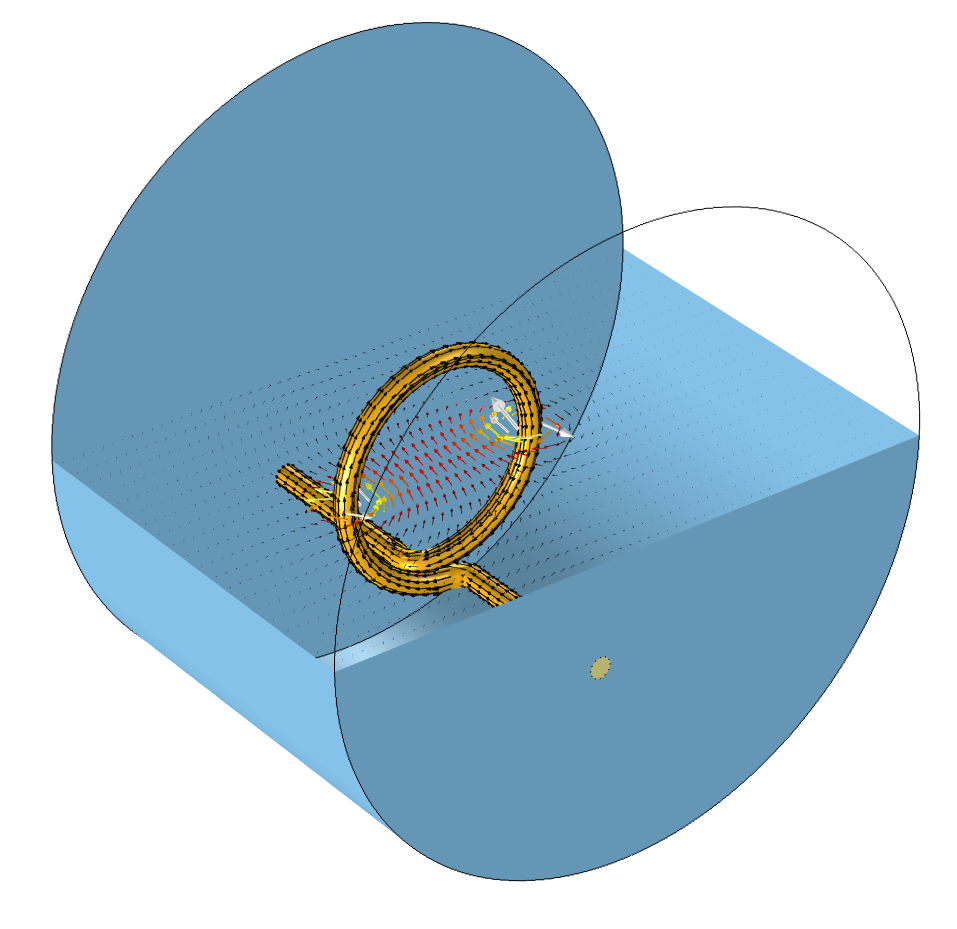 Computational model of a coil with a single turn.