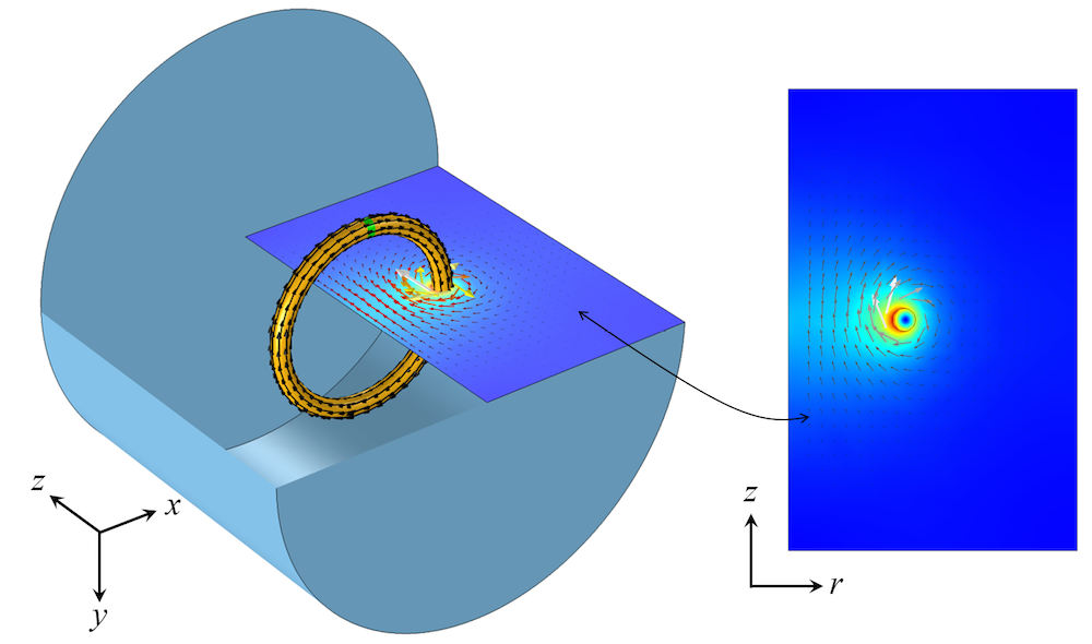 Modeling a 3D rotationally invariant coil in the axisymmetric 2D plane.