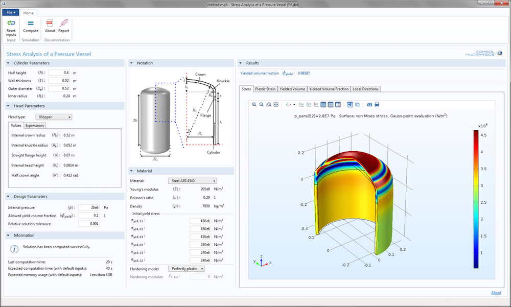 A screenshot showing the Stress Analysis of a Pressure Vessel app UI.