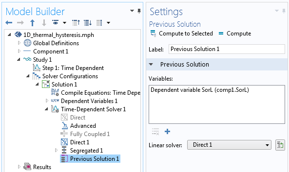 Solver settings with the Previous Solution operator applied.