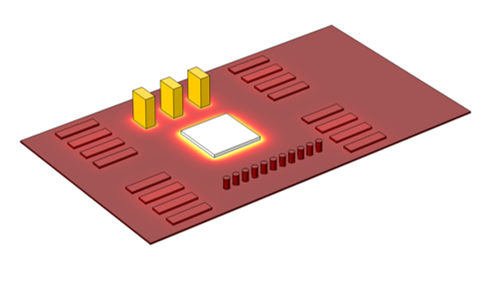 A graphic showing the temperature distribution on a circuit board.