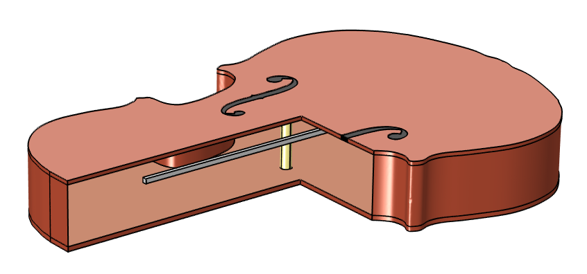 A schematic of a violin modeled in COMSOL Multiphysics.