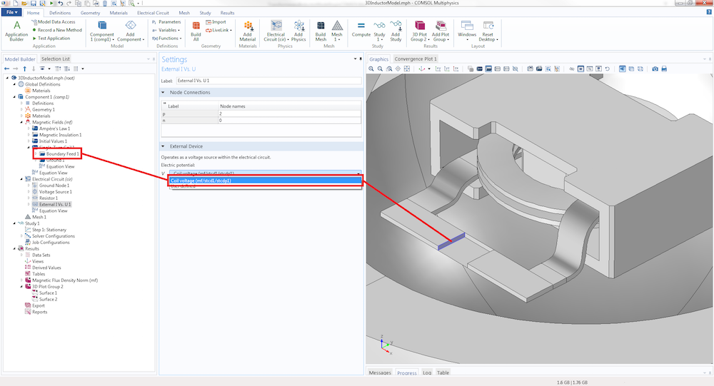 A screenshot showing how to couple the inductor terminal to the circuit model in COMSOL Multiphysics.