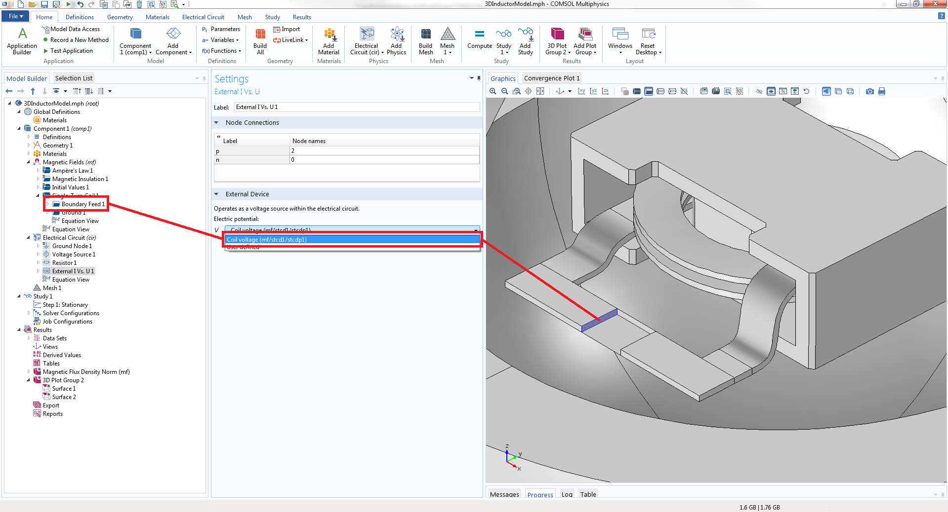 Evaluate Your 3d Inductor Design With Comsol Multiphysics Blog Coupled Analysis Of An Integrated Circuit Board A Screenshot Showing How To Couple The Terminal Model In