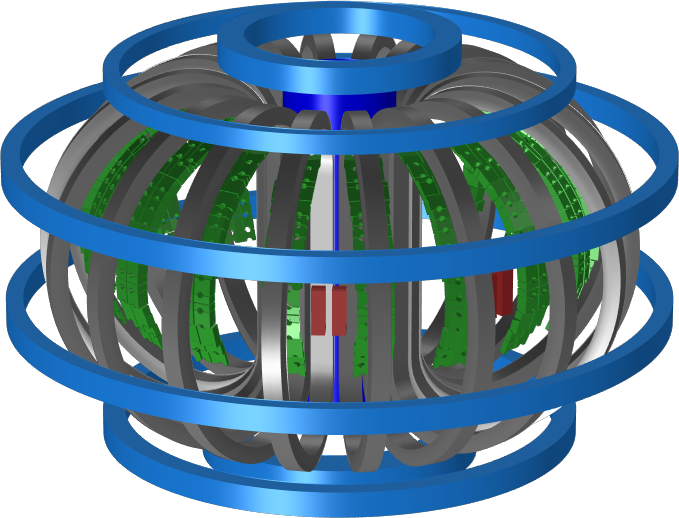 A graphic showing the model geometry of the tokamak's coils and ferritic components.