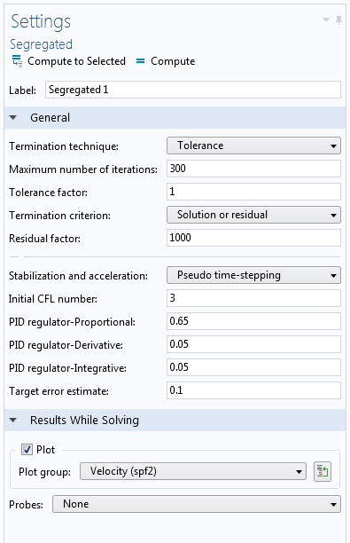 A screenshot illustrating the Segregated solver settings.