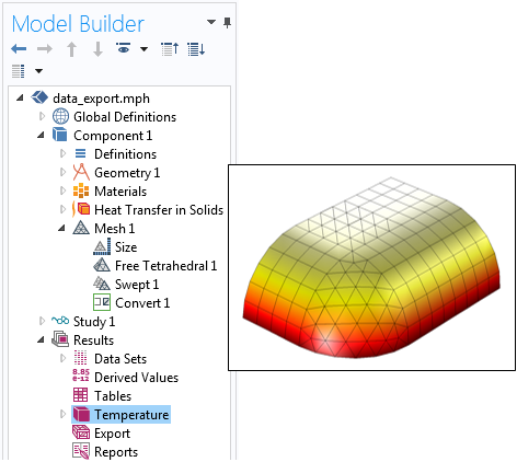 A thermal model in COMSOL Multiphysics that features different element types.