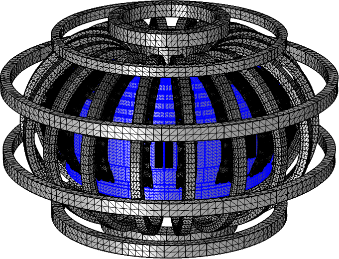 An image of the plasma as well as the meshed coils and components.