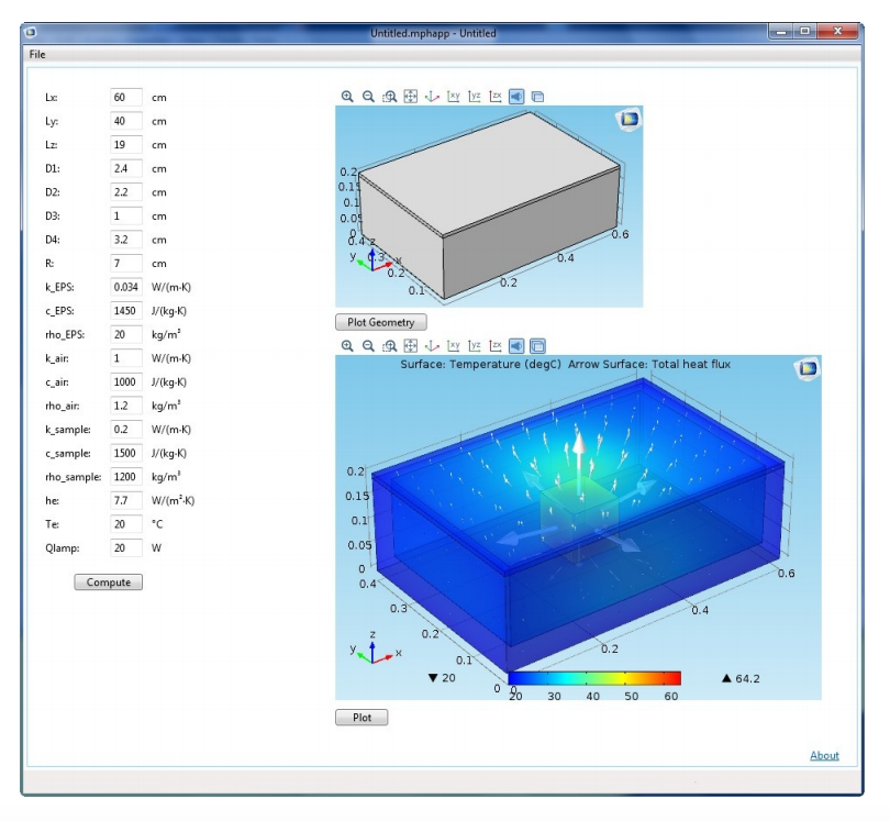 A 3D heating simulation app, one example of using the Application Builder as a tool for teaching students.
