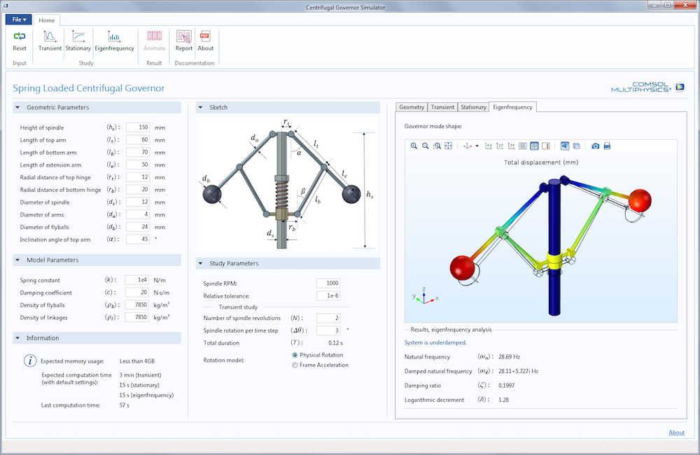 An image of the UI for the Centrifugal Governor Simulator demo app, built with the Application Builder in COMSOL Multiphysics.