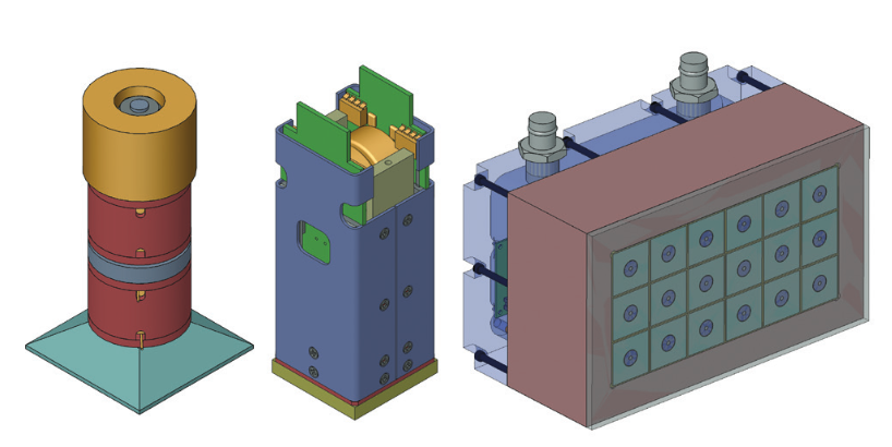 Images depicting different components of a closely packed SONAR array, including the magnetostrictive transducer, the transducer and power electronics, and the full array.
