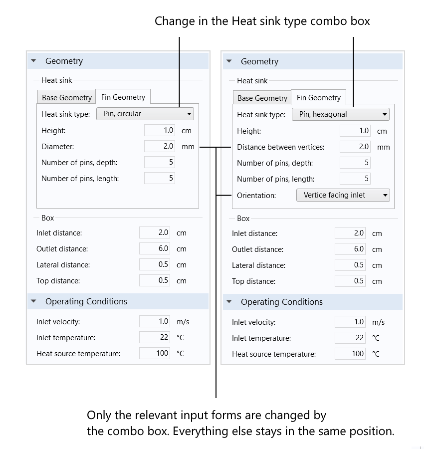 An screenshot showing the effects of changing an input in the Heat sink type combo box.