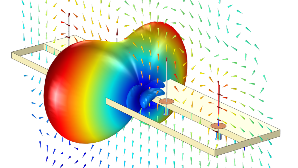 An image of the far-field radiation pattern of a monopole antenna array in COMSOL Multiphysics.