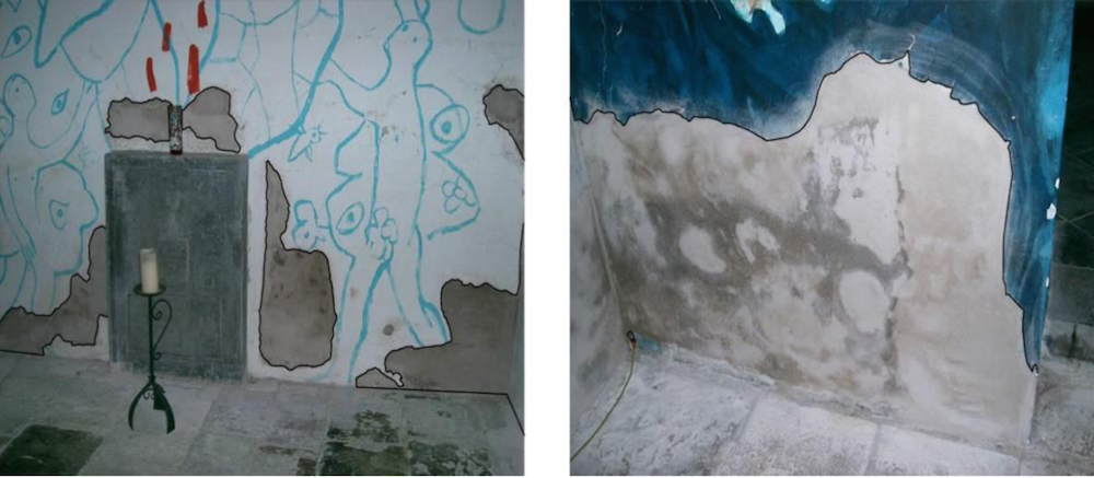 Side-by-side images showing painting deterioration inside the chapel.
