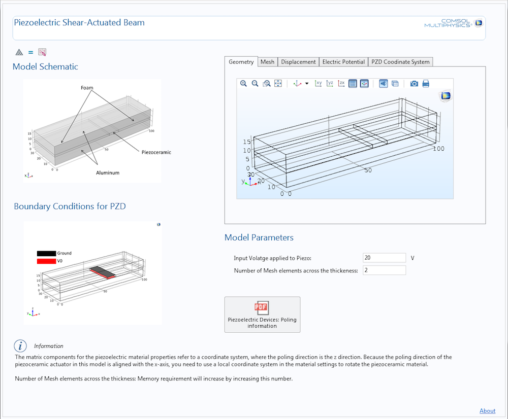 A screenshot of the piezoelectric shear-actuated beam app.