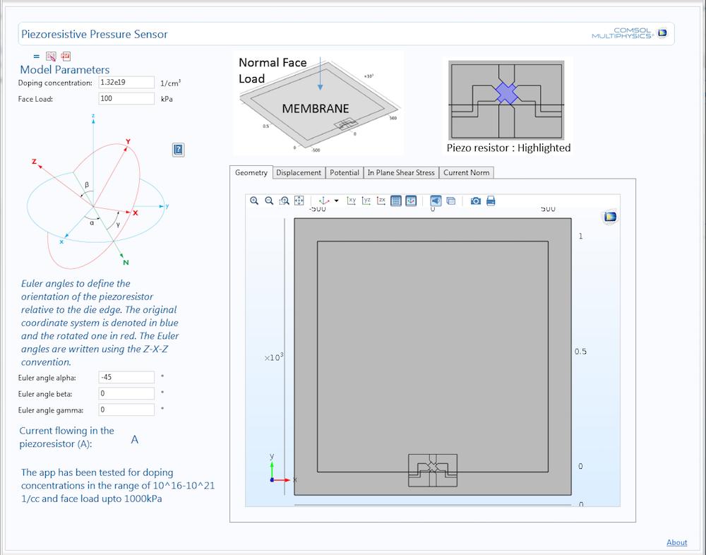 An example of a piezoresistive pressure sensor app.