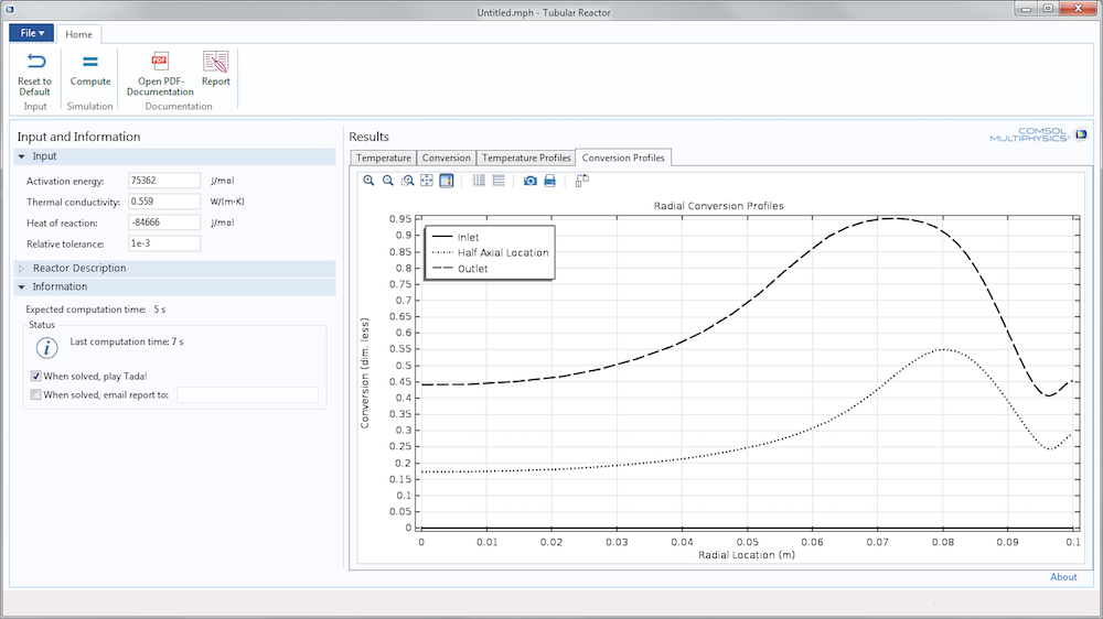 An image of the Tubular Reactor app's user interface, made with the Application Builder in COMSOL Multiphysics.
