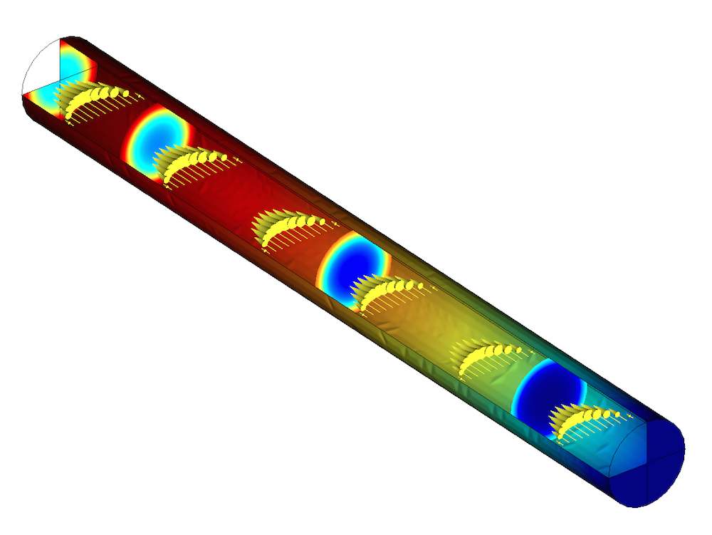 A model of a tubular reactor in COMSOL Multiphysics.