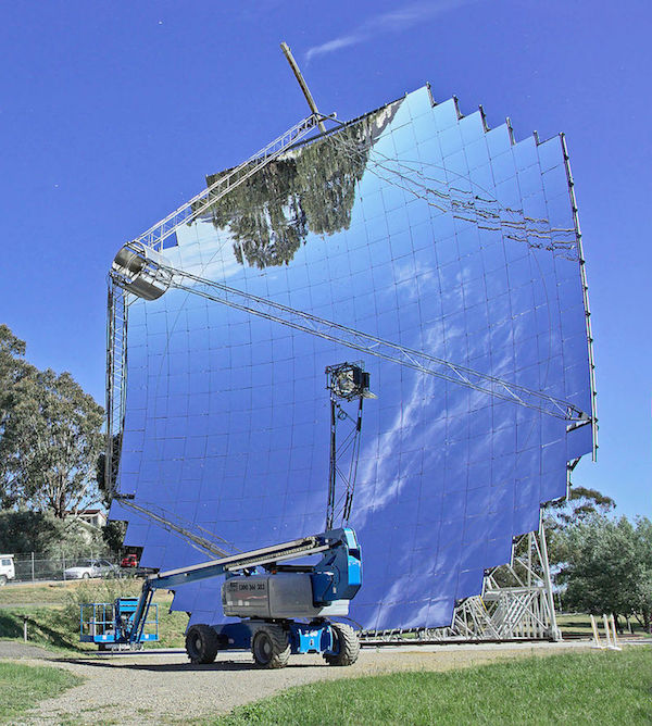 A photograph of a paraboloidal dish, a device used for concentrated solar power.