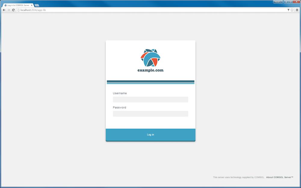 Branded login page for COMSOL Server.