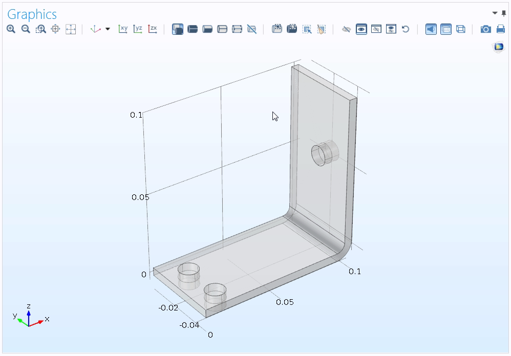 A screenshot of the Graphics window showing the geometry for a busbar tutorial model.