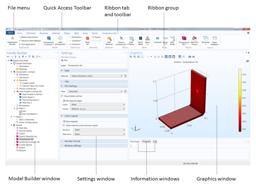 In the COMSOL Multiphysics modeling environment, the COMSOL Desktop serves as the user interface (UI) that encompasses various tools, menus, and windows to create and solve simulations.