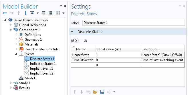Using the Discrete States interface to define two discrete variables that determine the heater state.