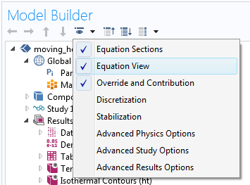 A screen capture showing how to enable the Equation View in COMSOL Multiphysics for applying boundary conditions.