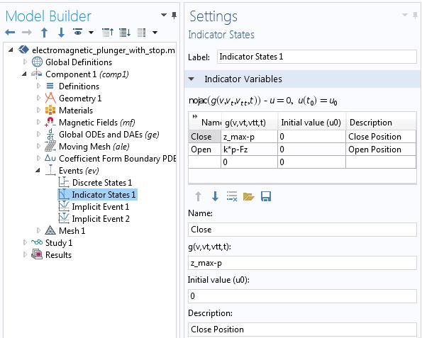 图像展示了指示器状态选项,位于事件接口中。