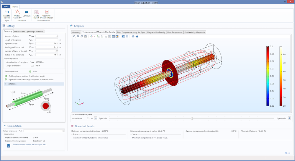 The UI of the Inline Induction Heater simulation app, new in COMSOL Multiphysics version 5.2a.