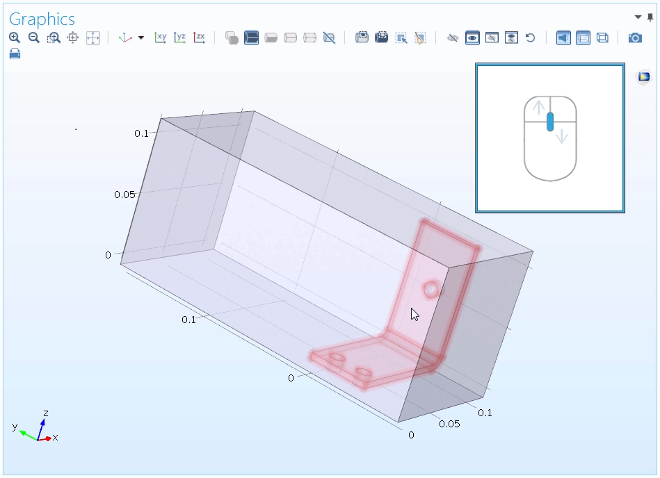 The mouse scroll wheel functionality in COMSOL Multiphysics.