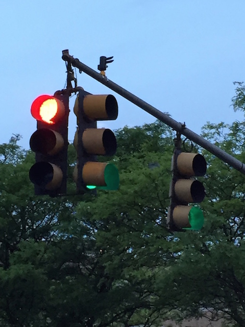 A photo of a traffic light, one type of embedded electronics system that can be impacted by weather.