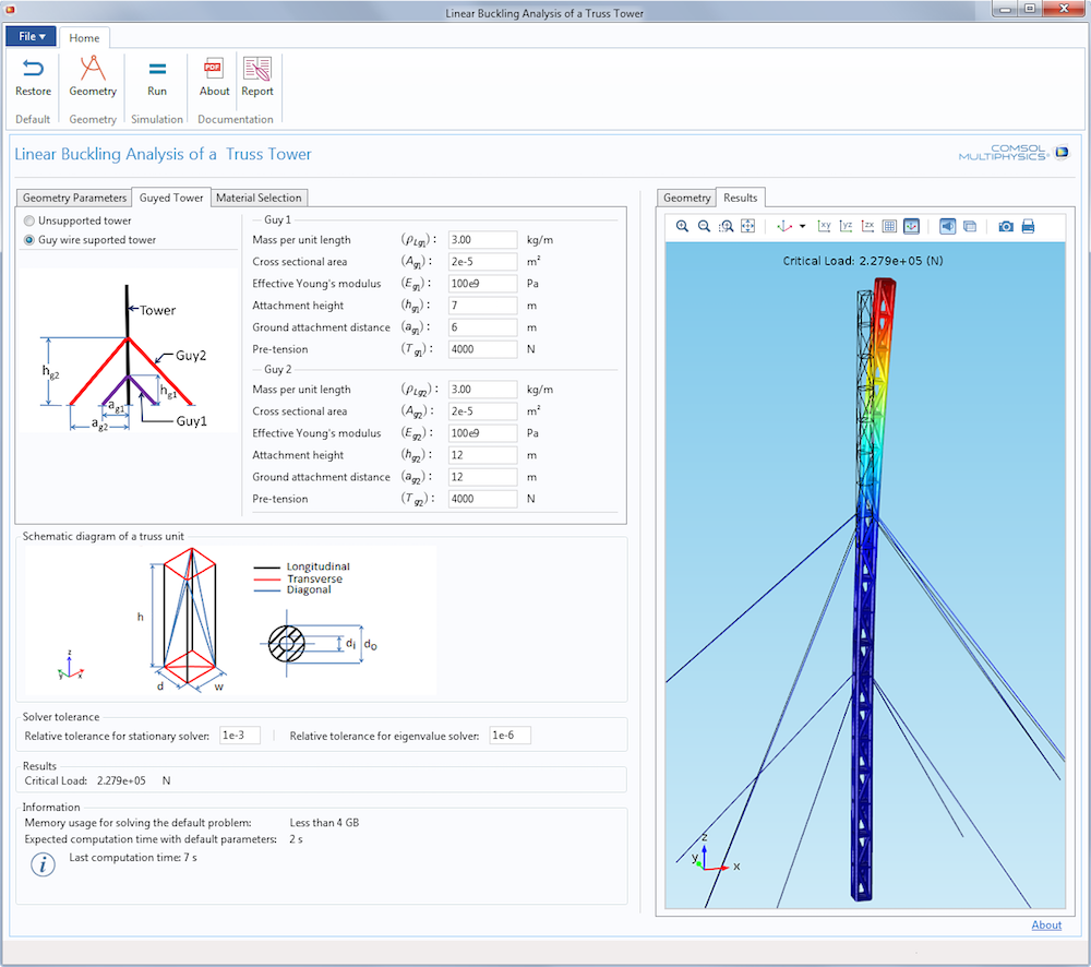The user interface (UI) of the Linear Buckling Analysis of a Truss Tower simulation app.