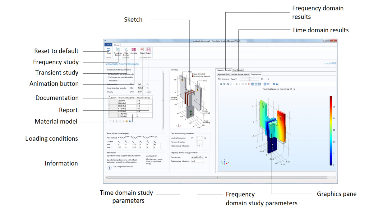Our Viscoelastic Structural Damper Analysis app's user interface.