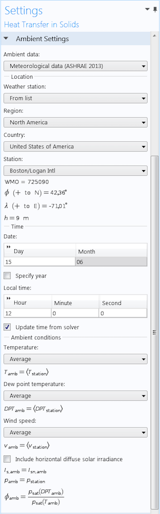 A screenshot depicting the use of meteorological data in a simulation analysis.