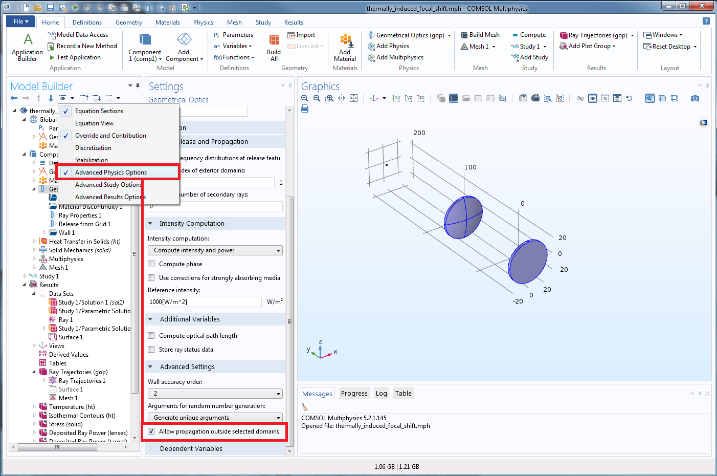 Screenshot showing how to disable the new COMSOL Multiphysics functionality for releasing rays outside your geometry.