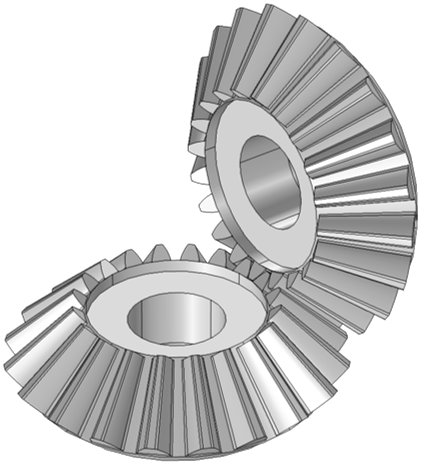 A model of bevel gears.