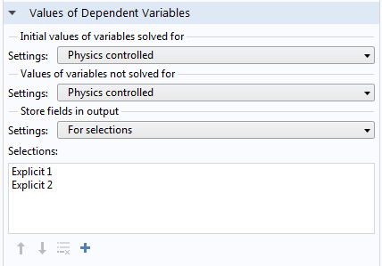 Screen capture showing the Values of Dependent Variables section.