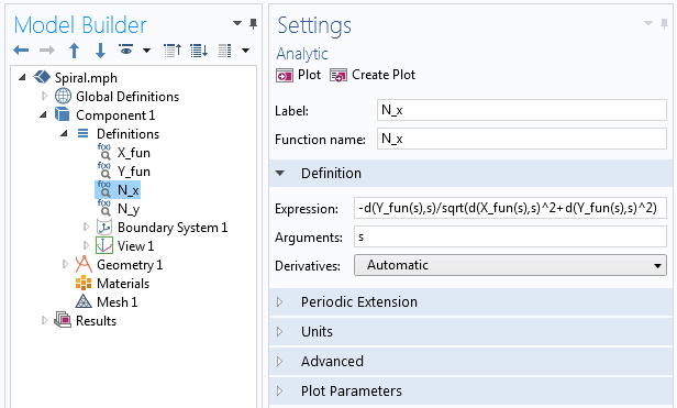 Screenshot showing examples of the derivative operator used in the Analytic function.