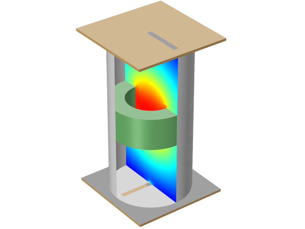 A tutorial model of an evanescent mode cylindrical cavity filter.